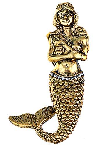 Geheimnisvolle Kostüm Meerjungfrau - Alilang Gold Ton Vintage Fantasy Meerjungfrau Sirene Prinzessin Fischschwanz Brosche