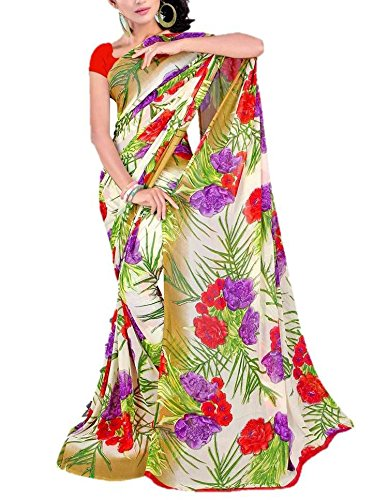 Crown Sarees Women's Synthetic Georgette Saree (Crown Prints_2_Multi-Coloured)