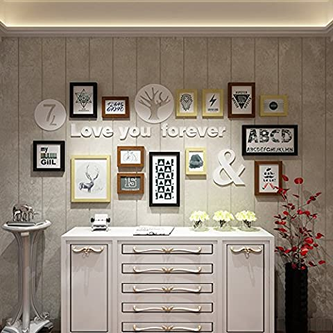 HJKY Photo Frame Wall Set Kombination aus Frame Wall Box 1640 Bilderrahmen Wand kreativ Wohnzimmer an der Wand hängend an der Wand dekoriert ist, schwarz Original Spender Mashups