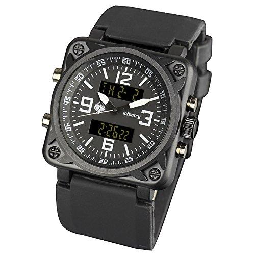 Infantry IN-023-BLK-R Schwarz Herrenuhr-Armbanduhr Digital Uhr Alarm Herrenuhr Chronograph Fliegeruhren Stoppuhr Dual Zeitzone Outdoor