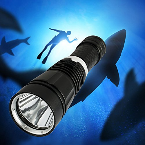 Samoleus Torcia Subacquea LED 50M/165FT, Impermeabile IPX8 Torcia Immersioni Torce Elettriche Portatili Supporto da 26650, 18650 o Batteria AAA (Non Inclusa) (Impermeabile IPX8)