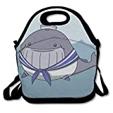 kkkujiOo Neoprene Lunch Bag, Bento Lunch Bag, Hot Big Lunch Bag for Women, Whale Sailor Scarf Waves Water Clouds Sea