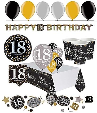 Feste Feiern Party Set zum 18.ten Geburtstag in gold schwarz mit Glitter, 47 Teile komplette