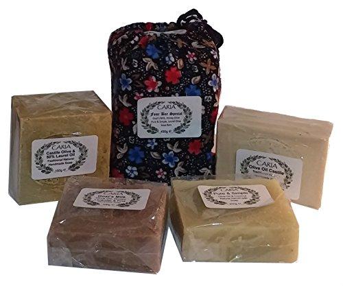 Caria 4bar speciale Olio d' oliva Sapone Barre Turco naturale Handmade latte di capra grezzo Miele Lavanda Laurel 440g (FBA)