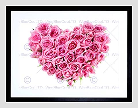 PHOTO COMPOSITION FLOWER PINK ROSES LOVE HEART SHAPE FRAMED ART PRINT B12X8380