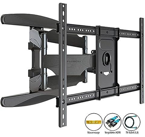 Invision® TV Wandhalterung - Ultrastarker Doppelarm - Schwenkbar Neigbar für 94 - 178 cm (37 - 70 Zoll) - Halterung für LED LCD OLED Plasma & Curved Fernseher - VESA 200 x 200 - 400 x 600 inklusive HDMI Kabel & Wasserwaage (Wandhalterungen Für Tv)