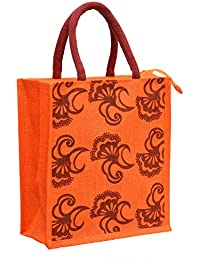 Orange Jute With Maroon Nine Flowers Printed With Maroon Rope Handle Jute Burlap Lunch Tiffin Outdoor Handbag...