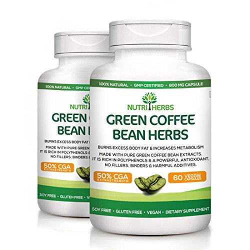 Nutriherbs Pure Green Coffee Bean Extract 50% GCA 800MG 60 Capsules 100% Natural & Weight loss supplement (Pack of 2)  available at amazon for Rs.1399