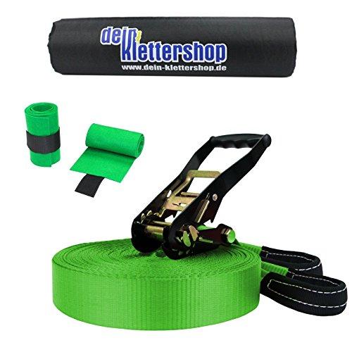 Slackline 30 m Adventure (3 t) + 2 x protezioni per albero + protezione cricchetto da BB Sport, Colore:verde