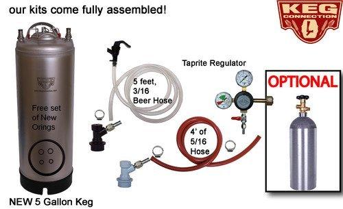 Kegging Kit - New 5 gallon keg, 5lb CO2 Tank, CO2 Regulator & both pigtails by Beverage Elements