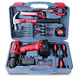 Hi-Spec 26pc Household Cordless Power Drill Tool Kit Including 9.6V Drill Driver with 1200 mAh Ni-MH Rechargeable Battery, 16 Position Keyless Torque Clutch, Variable Speed Switch, Drill & Screwdriver Accessory Set & 25pc Most Reached for Hand Tools including Heavy Duty 370g Hammer - all in Sturdy Storage Box