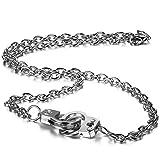 JewelryWe Schmuck Legierung Halskette mit Einzigartigen Handschellen Anhänger, Kette für Damen und Herren, Silber