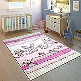 Tappeto per Bambini Camera dei Bambini Taglio Sagomato Fattoria Animali Rosa Crema Colori Pastello, Dimensione:140x200 cm