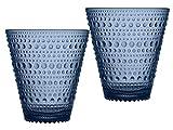 Iittala 1019597 Kastehelmi Gläser, Glas, Regenblau, 9 x 9 x 9.7 cm, 2 Einheiten