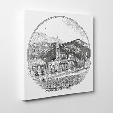 Leinwand modernen Malerei–Lourdes 1895OLD Gravur–Basilika Madonna–Frankreich–(Cod. 070), Dicke: 4 cm (Galerie), Size: 40x40 (Lichtenstein Moderne Malerei)