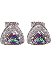 Silver Prince 2.9 Grm Mystic Topaz, White Cubic Zirconia Pure 925 Silver Earrings For Women & Girls