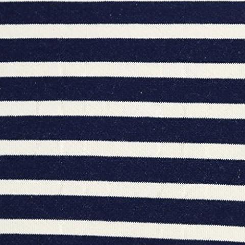 Tissu sweat molleton Kiyohara - Marinière rayé Bleu Marine/Crème x10cm