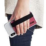 Ringke Flip Card Holder Porte Carte de Crédit avec 3M Sticke Sangle Elastique Pochette Adhésive Attachable Portefeuille pour Apple iPhone, Samsung Galaxy, Note, LG, Google Coque Accessoire [Deep Pink]