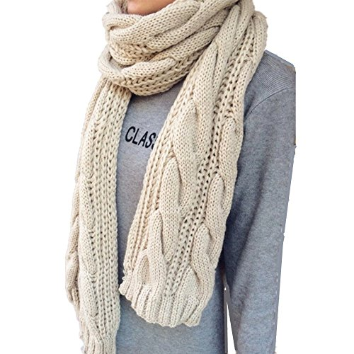 WEINISITE Damenmode Stricken Lange Twist Schal Dicke Gestrickte Winter Warm Infinity Schal Girls Winter warmer Schal (Beige) (Stricken Schal Kabel Lange)