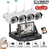 Swinway Wireless Security Camera System WIFI NVR with 4 Wireless Outdoor 720P HD IP CCTV Camera with 48 LEDs Night vision Support Smartphone Remote view WIFI NVR with 7