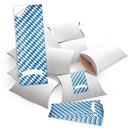 '100piccolo regalo scatole regalo scatole di cartone, bianco (14,5x 10,5+ 3cm altezza) con adesivo fascetta bayern diamante blu bianco su legno–da sè fai da te e riempire–come confezione;