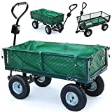 Popamazing 4 Wheeled Utility Steel Metal Hand Truck Cart Trolley with Pneumatic Tire