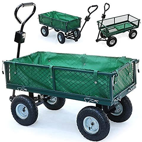 chinkyboo Heavy Large Metal Garden Outdoor Utility Hand Cart Steel Truck Trolley With Interior Cover