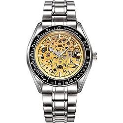 Alienwork IK mechanische Automatik Armbanduhr Skelett Automatikuhr Uhr gold silber Metall 98545S-G-03