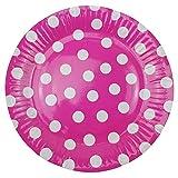 72 Pappteller Ø 23 cm - Bunt, gepunktet, rund, lebensmittelecht, beschichtet, je 12x blau, grün, gelb, pink, lila und rosa - 5