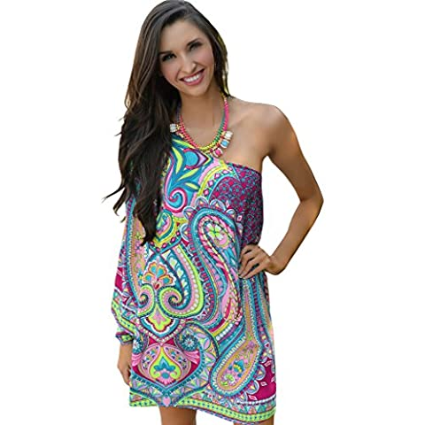 Years Calm Summer Female Bohemian style Fashion Printed Single Shoulder Dress for party,beach,dating,or vocation (L-UK(10), Multicoloured)