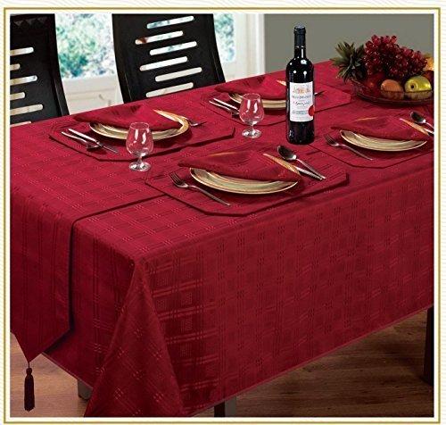 Lujoso y moderno Navidad Woven Check Jacquard rojo vino servilletas a juego con mantel