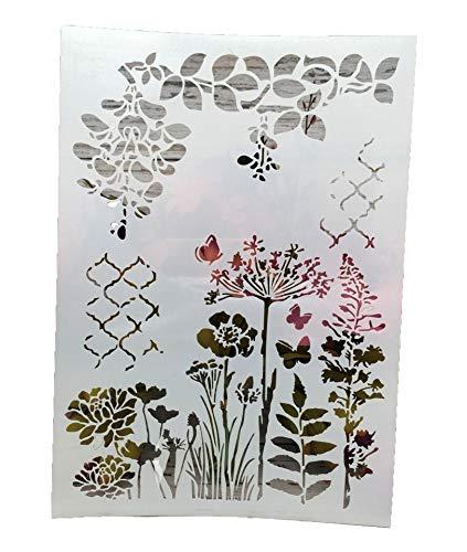 A4 Schmetterling Blumen Blatt DIY Schichtschablonen Wand Malerei Scrapbook Malerei Prägung Album Deko Papier Karte Vorlage