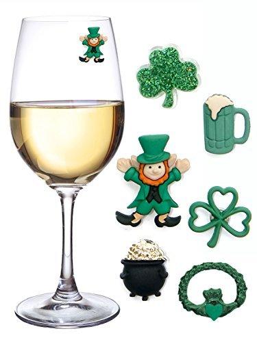 St.Patrick's Day Glasmarkierer/Anhänger, magnetisch, für individuelle Glasgestaltung, mit Motiven rund um den St. Patrick's Day, 6er-Set