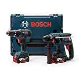 Bosch Professional GSB 18-2-LI Cordless Combi Drill + GBH 18V-EC Cordless Rotary Hammer Drill with Two 18 V 4.0 Ah Lithium-Ion Batteries - L-Boxx
