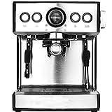 LJHA kafeiji Espressomaschine, Pumpe Kaffeemaschine halbautomatische Haushalt Dampf Milchkaffeemaschine 282mm × 250mm × 320mm Silber (Farbe : Silber)