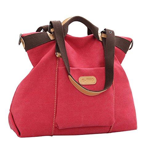 PB-SOAR Damen Vintage Canvas Handtasche Schultertasche Umhängetasche Henkeltasche Freizeittasche (Lila) Rot
