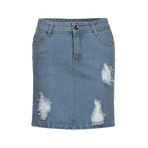 Jeansrock Damen Felicove, Denim Jeans Solide Casual Loch Shirt Taste kurzen Rock