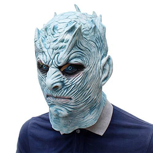nihiug Nacht König Maske Latex Halloween Right Game Film und Tanz Ball Maske EIS und Feuer Lied,Blue-OneSize