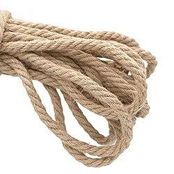 jijAcraft Hemp Rope,10mm Thick Rope Strong Natural Rope,4-Ply Jute Rope for Craft Rope/Cat Scratching Rope/Garden Bundling(10 M/32 Feet)