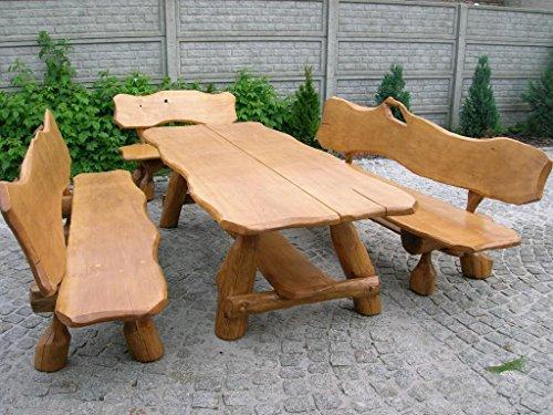 Rustikale Sitzgruppe aus Eiche für den Garten - Langer Tisch 2,50m aus Holz und 2 Bänke mit...