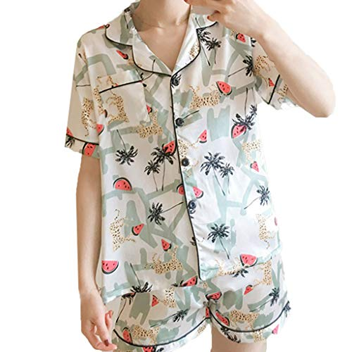 Damen Pyjamas Set FGHYH Frauen Sommer Druck Kurzarm Shorts Floral Lose Nachtwäsche 2 Stücke Homewear(XL, Weiß) (Langarm-sleepshirt Florale)