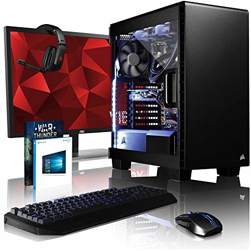 VIBOX Armageddon GM580-610 Gaming PC Computer mit Spiel Bundle, Windows 10 OS, 28 Zoll 4K Monitor (4,0GHz Intel i5 6-Core, MSI Nvidia GeForce GTX 1080 Grafikkarte, 32Go DDR4 RAM, 120GB SSD, 3TB HDD) (Nvidia Gtx 610)