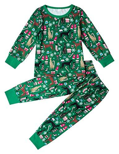 AIDEAONE Weihnachten Lange Ärmel Loungewear Baumwolle Pyjamas Nachtwäsche für Jungen Mädchen Kinder