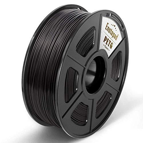 Enotepad PETG 3D Printer Filament,PETG Filament 1.75mm,2.2LBS 1KG Spool,Dimensional Accuracy 1.75+/- 0.02mm,Ductile&Non-toxic Material For most 3D Printer,Black PETG