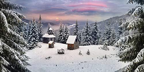 OERJU 6x3,5m Winter-Szene Hintergrund Starker Schneefall Bedeckte Wälder Hütte Sonnenuntergang Riesige Hintergrund Banner Themenparty-Banner Dekorwand Poster Fotografie