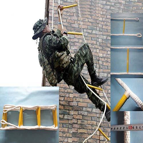 Kindlyperson Escalera de Escape portátil de Emergencia con Ganchos, Escalera de Cuerda de Salvamento doméstica Escalera de Cuerda de Seguridad Suave de Nylon Redondo al Aire Libre