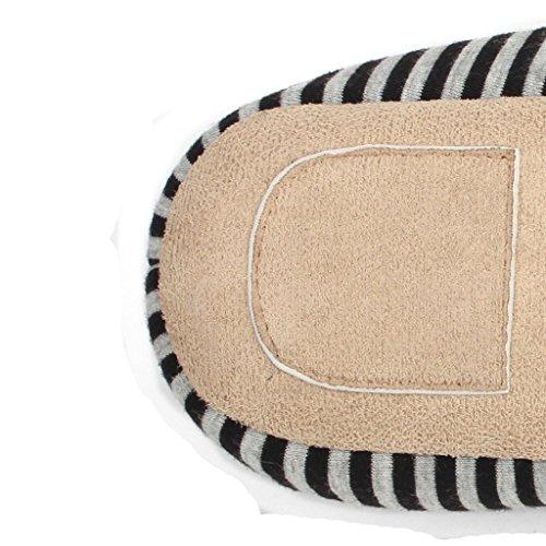 Chaussons DWW Pantoufles en Coton Confortables Rayées Hommes et Femmes à la Maison Chaussures en Daim A