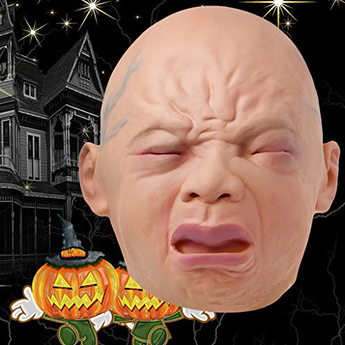 dairyshop Halloween Latex Weinen Baby Maske Full Face Fancy Kleid Masquerade Kostüm (Face Ghost Kostüm Womens)