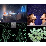 SYGA 50 Pcs Glow in The Dark Stars Decals Design Wall Stickers