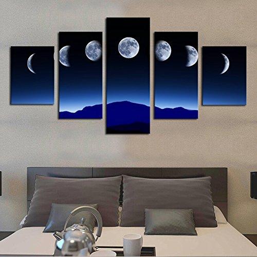Inovey 5 Cascade Lunaire Variation Annuelle Toile Mur Peinture Décoration Maison sans Fram